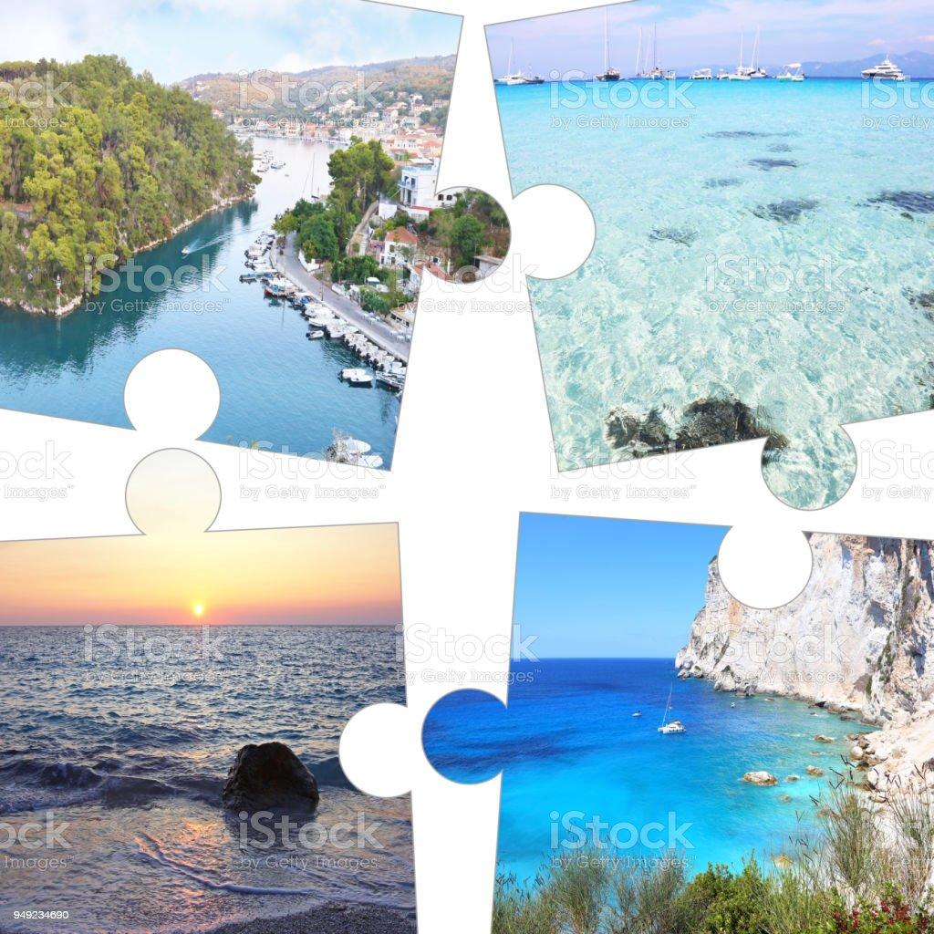 colagem de fotos em peças do puzzle de Paxos e Jónico Antipaxos Grécia ilhas - foto de acervo
