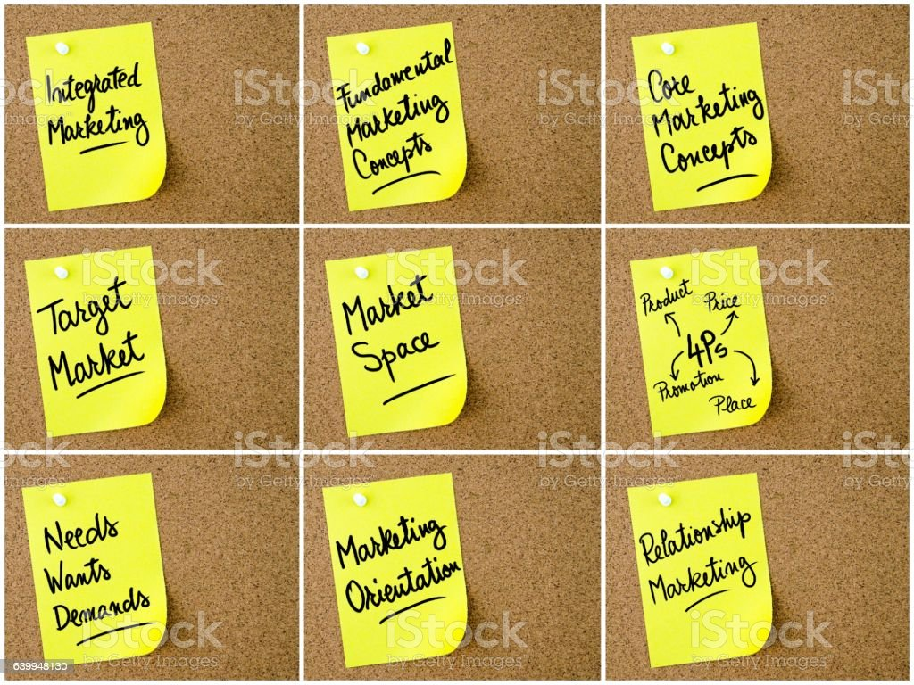 Photo collage of Business and Marketing notes stock photo