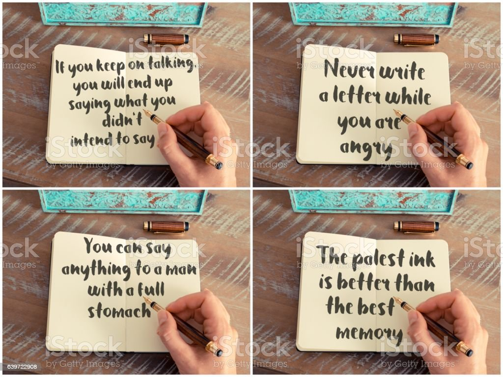 Photo Collage Of Handwritten Quotes On Notebook Stock Photo