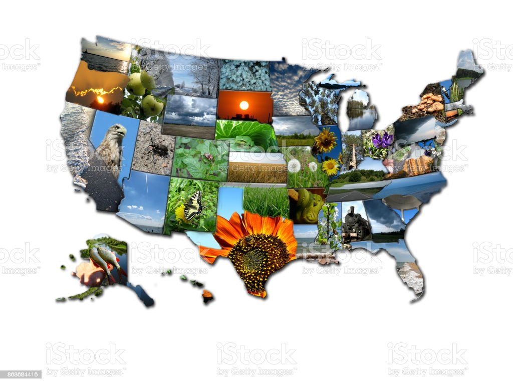 Photo collage of map of states of USA stock photo