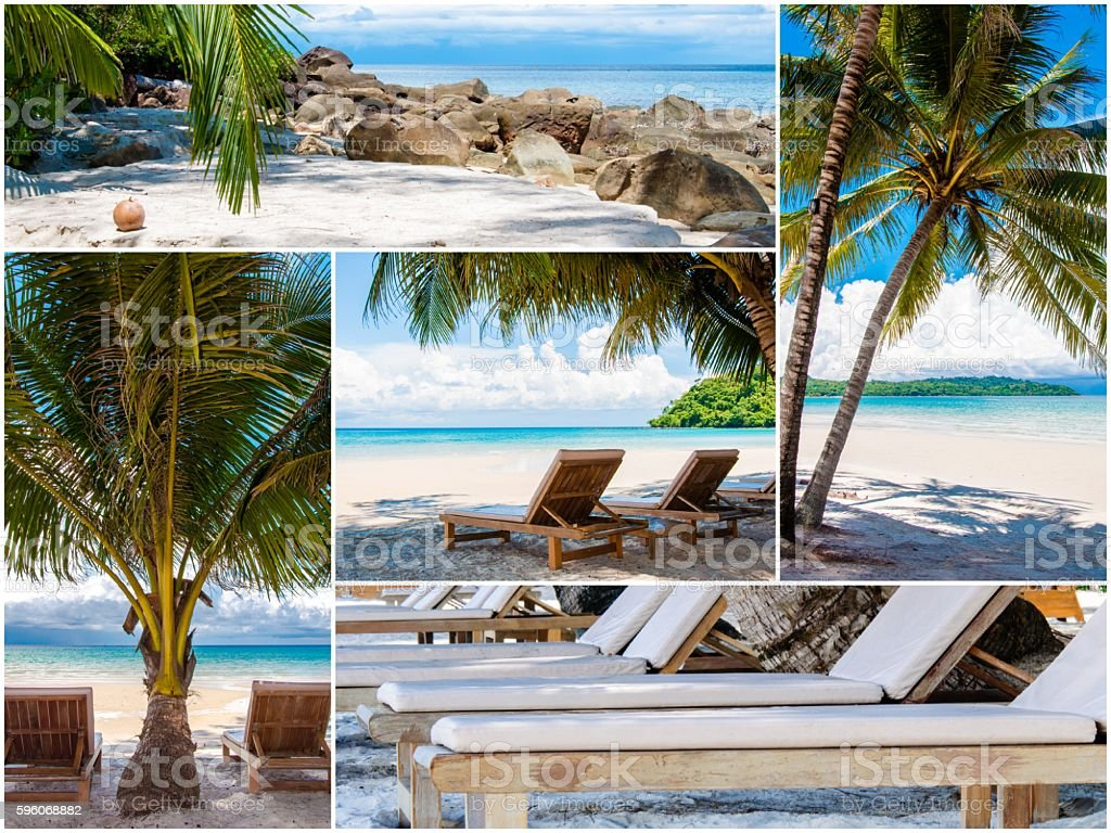 Photo collage of tropical beach with palm trees royalty-free stock photo