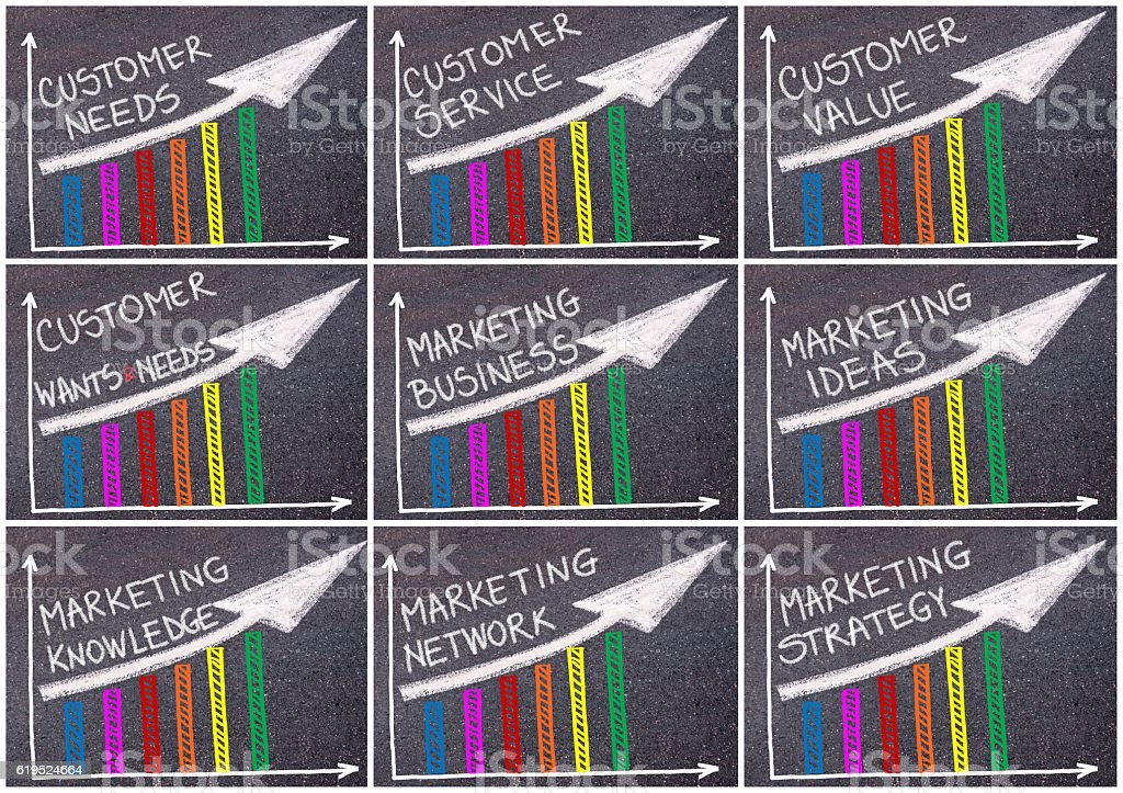Photo collage of various business messages written over colorful graph stock photo
