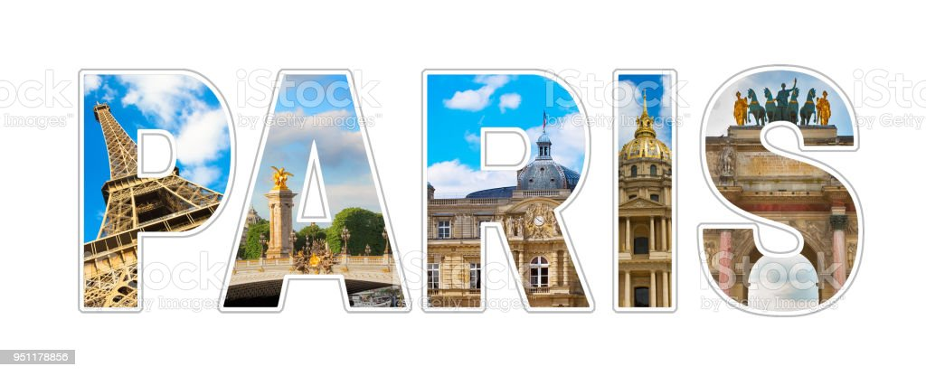 Photo collage Text Paris stock photo