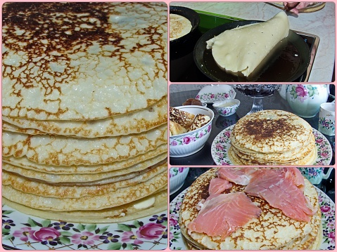 Photo collage traditional russian pancakes. Blini. Pancake week. Maslenitsa is an Eastern Slavic traditional holiday, celebrated during the week before the Great Lent.