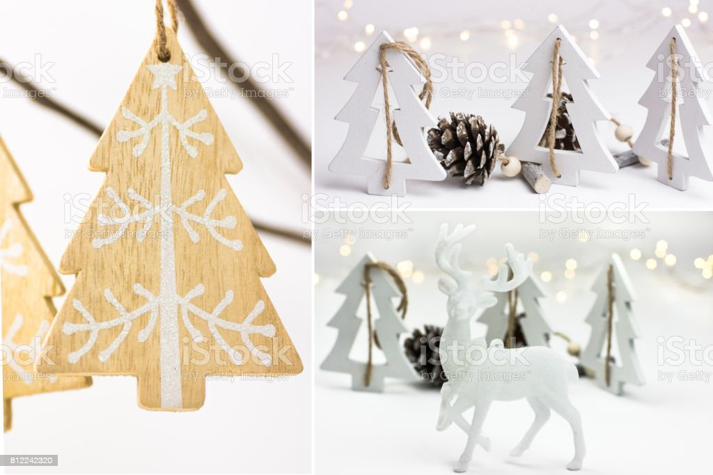 photo collage white christmas decoration handmade ornaments wood fir trees pine cones - Nordic Style Christmas Decorations