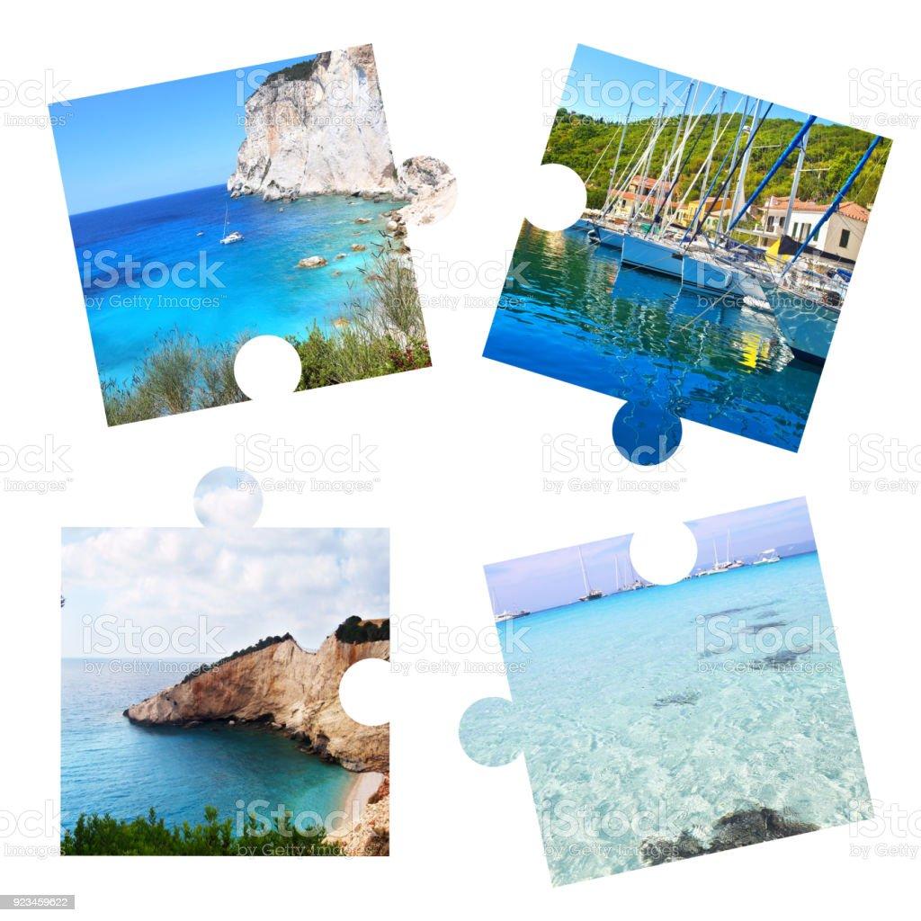 colagem de fotos com ilhas Jónicas em puzzle pieces - Paxos, Ithaca, Lefkada, Ilhas de Antipaxos - foto de acervo