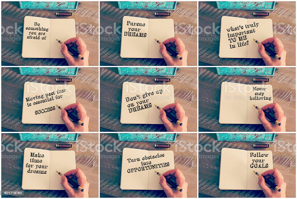 Photo Collage with various motivational messages stock photo