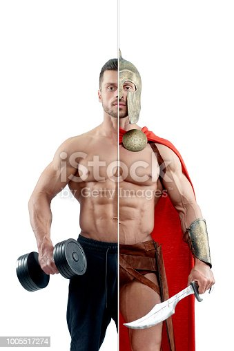 Photo comparison of ancient warrior and modern sporsman. Both having sporty, athletic, fit body. Spartan wearing red cape, keeping metallic sword. Bodybuilder holding heavy dumbbell.