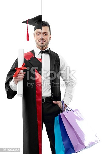 Photo comparison of university's graduate and concierge's outlook. Student wearing black and red graduation gown, keeping diploma. Attractive concierge wearing white shirt, classic suit, keeping bags.