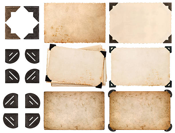 photo corner, old photo card, aged paper isolated on white - photo corner stock photos and pictures