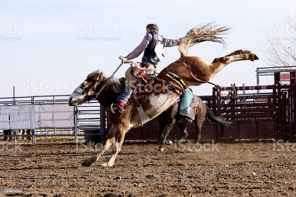 Photo Cowboy on Bucking Bronco stock photo
