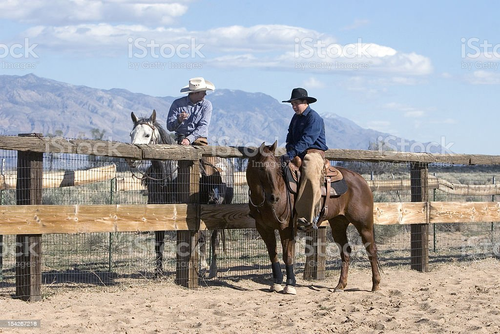 Photo Cowboys Talking Roping Competition Ranch stock photo