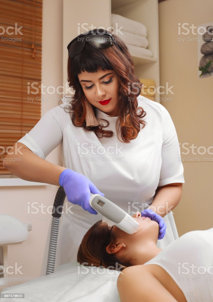 Photo Facial Therapy. Anti-aging Procedures. stock photo