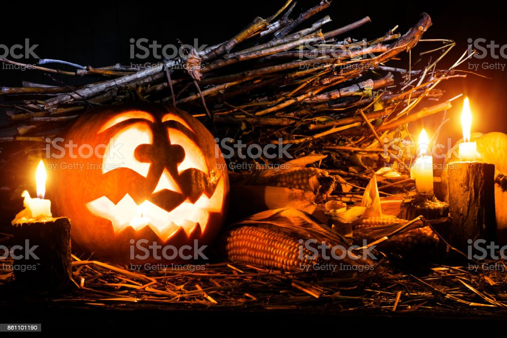 Photo for the holiday Halloween. Evil pumpkin lamp background. All...