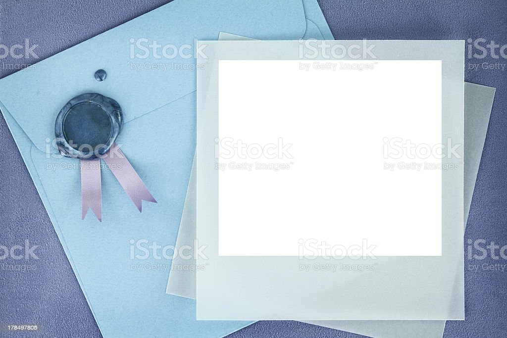 Photo frame and paper envelope with sealing wax stamp stock photo