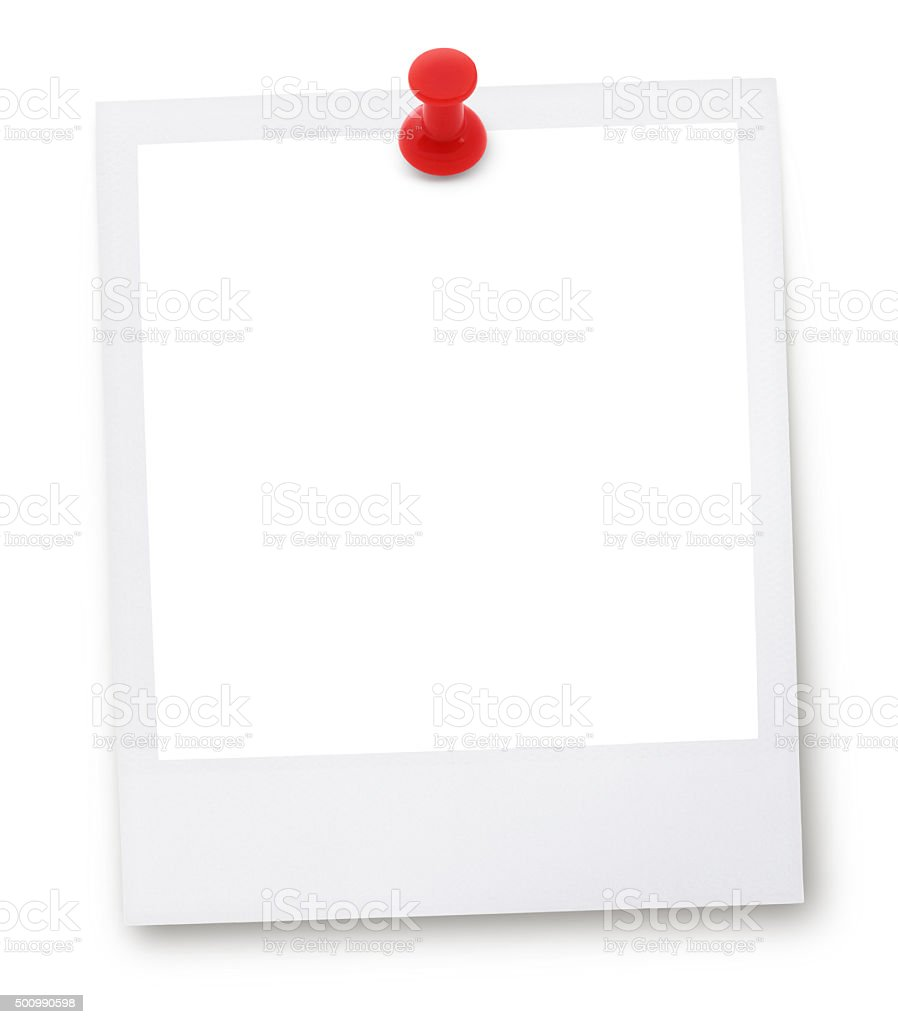 Photo frame and pin (with 2 paths) stock photo