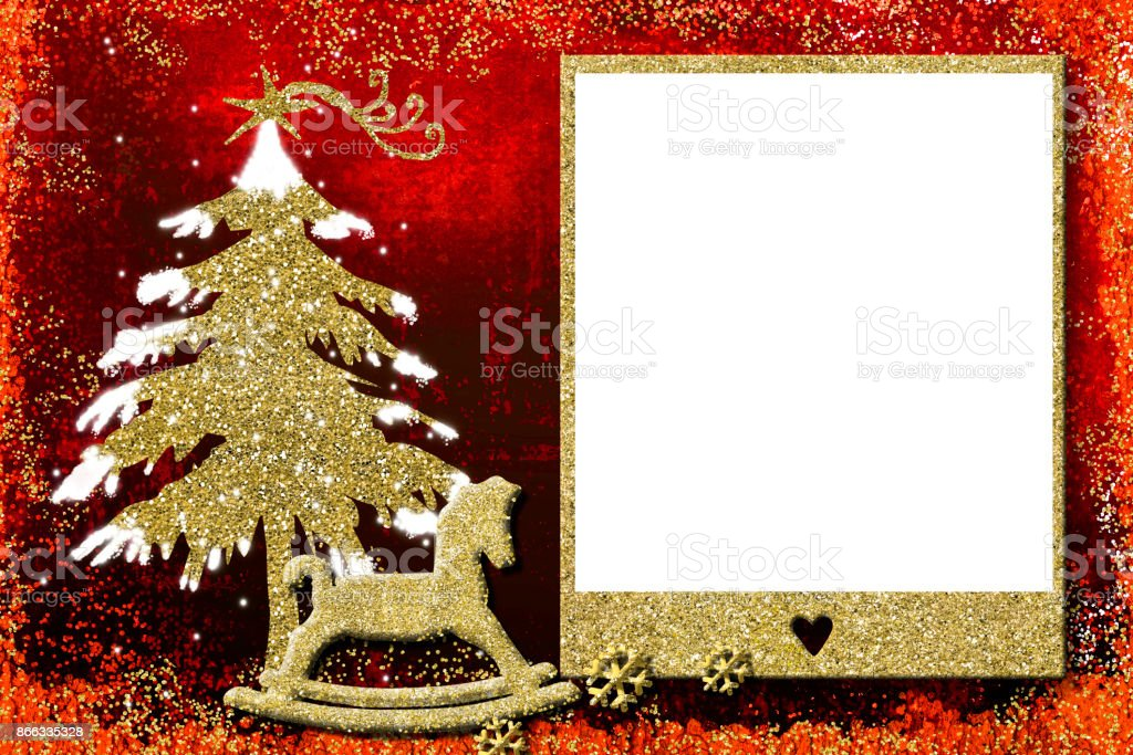 Christmas Card Frame.Photo Frame Christmas Cards Stock Photo Download Image Now