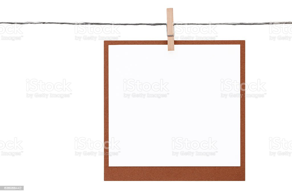 Photo Frame Hung On Rope With Clothespin Stock Photo & More Pictures ...