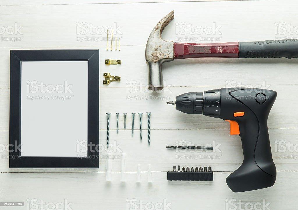 Photo frame installation complete DIY set. stock photo