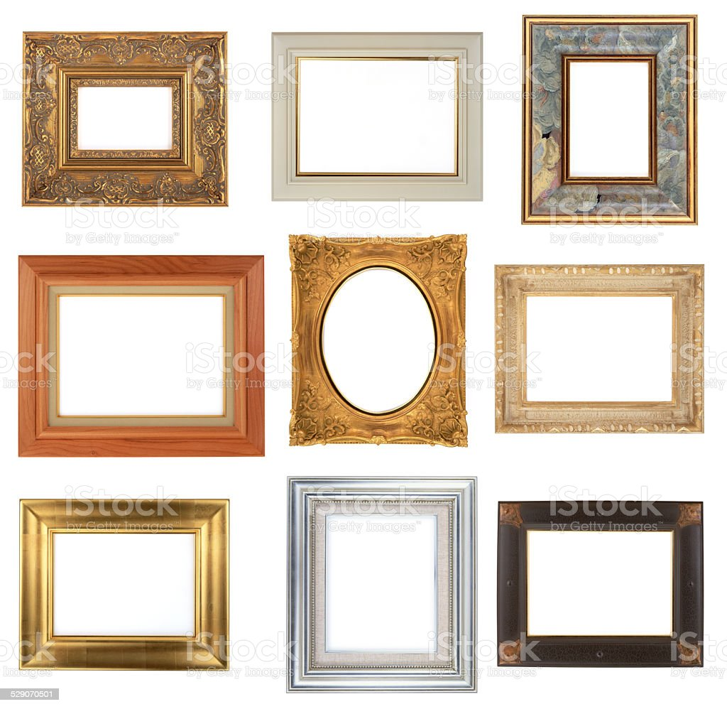 Photo Frame Isolated On White Background 9 Different Frames Stock