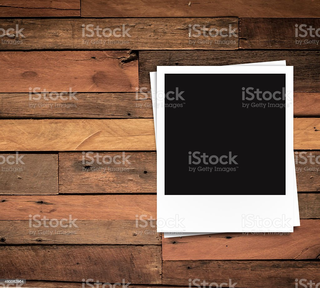 Photo Frame On Brown Wood Plank Background Stock Photo Download Image Now Istock