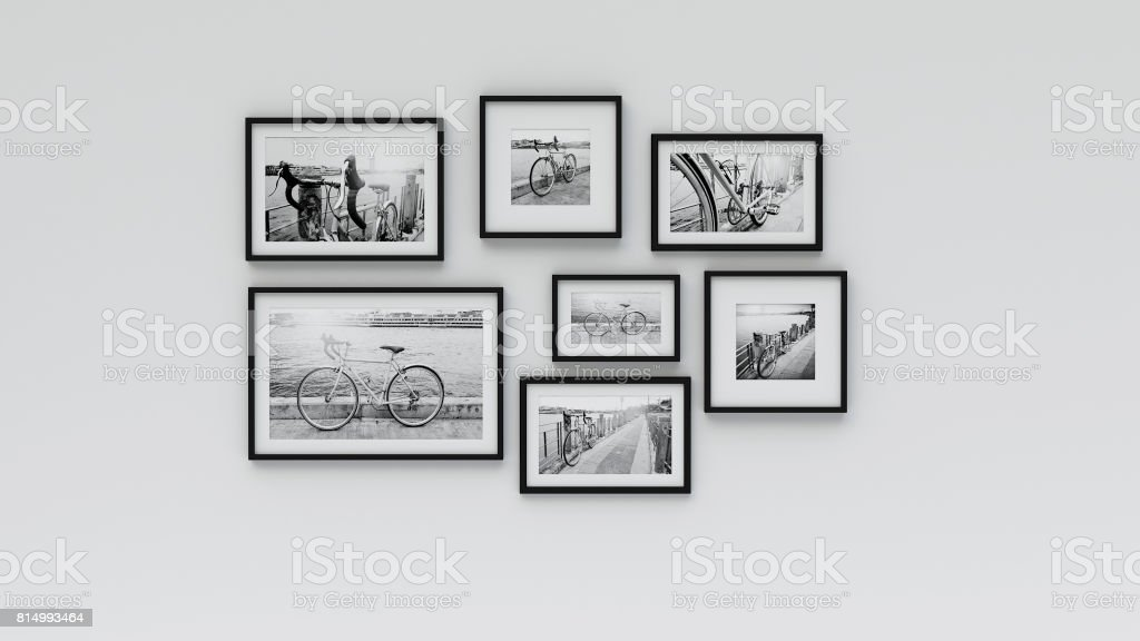 Photo frame on wall - pic bicycle (3d rendering) stock photo