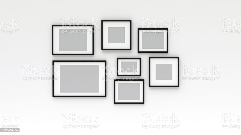 photo frame on wall (3d rendering) stock photo