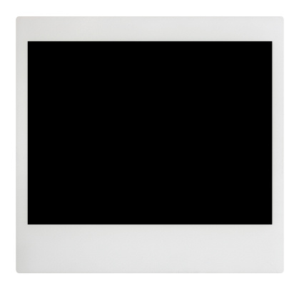 Blank Polaroid frame with separate clipping paths for outline and (just outside of) black area.
