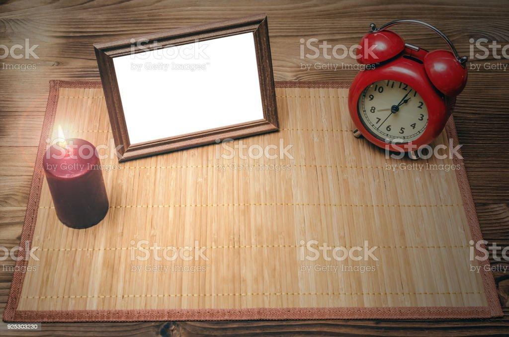 Fotorahmen Mit Textfreiraum Am Schreibtisch Bürotisch Vordere ...