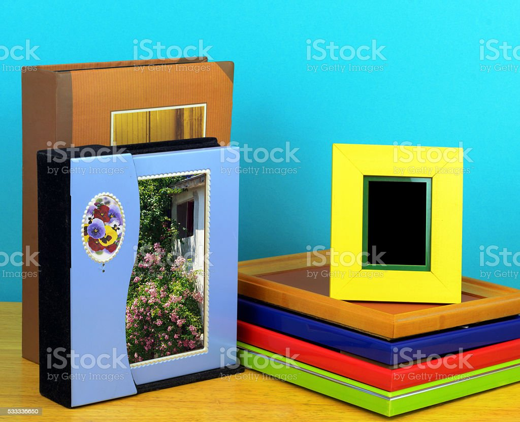 Photo frames and Albums for photographic shop stock photo