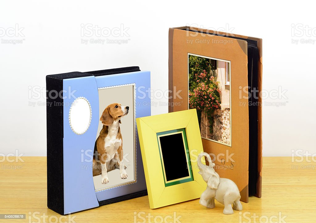 Photo frames and Albums. photographic shop stock photo