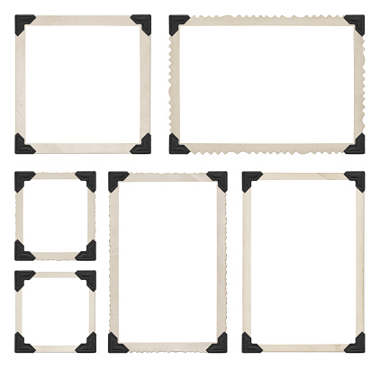 Photo collection and black corners isolated on white (excluding the shadows)