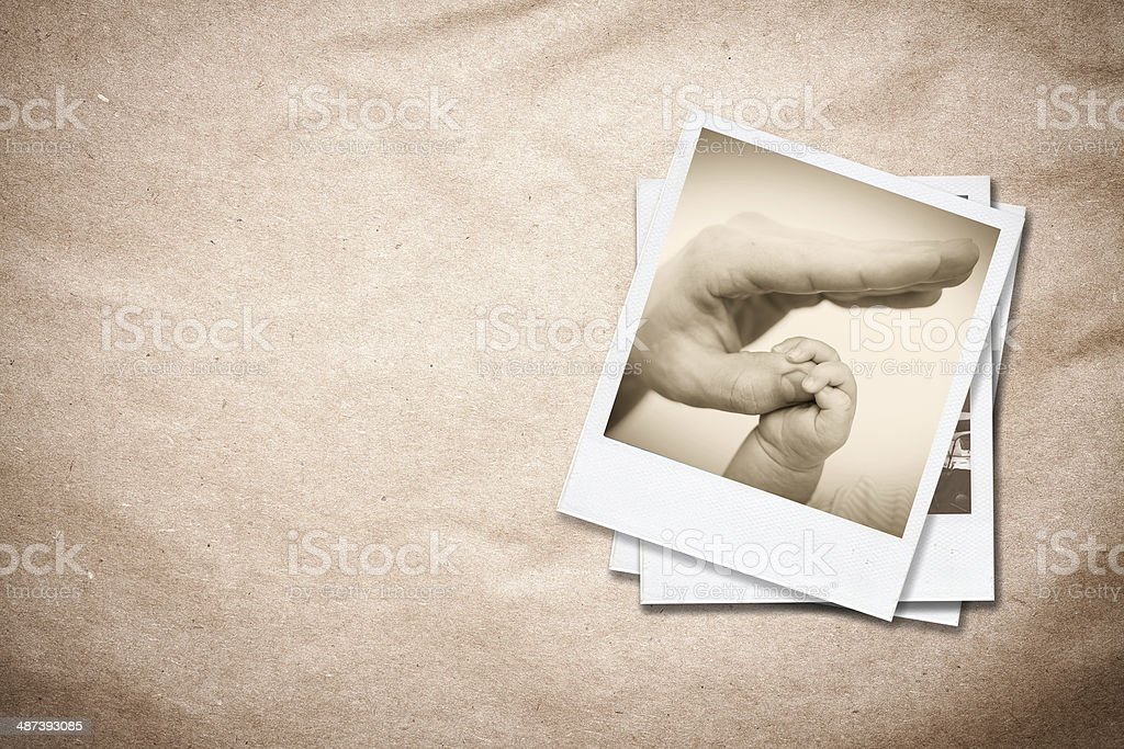Photo frames on old paper background. stock photo