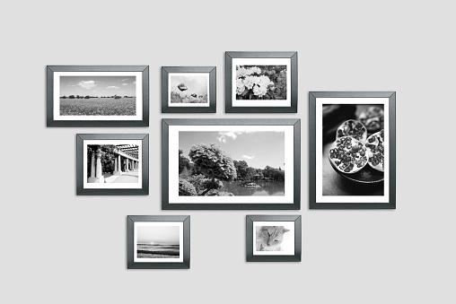 Photo frames on the wall. Photography portfolio, photo lab concept