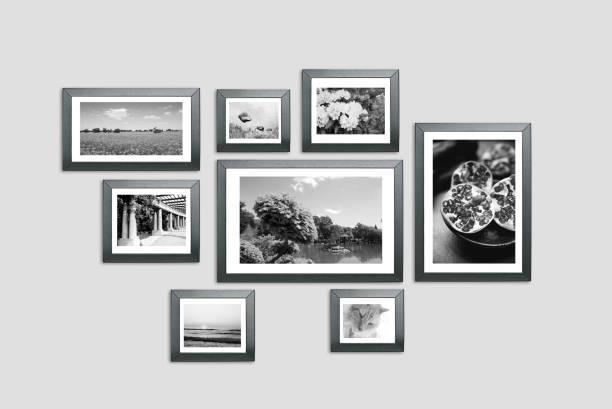 Photo frames on the wall, portfolio, photo lab stock photo