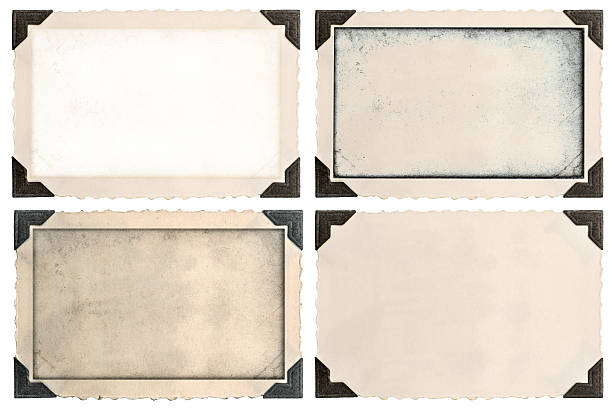 photo frames with corner and empty field - photo corner stock photos and pictures