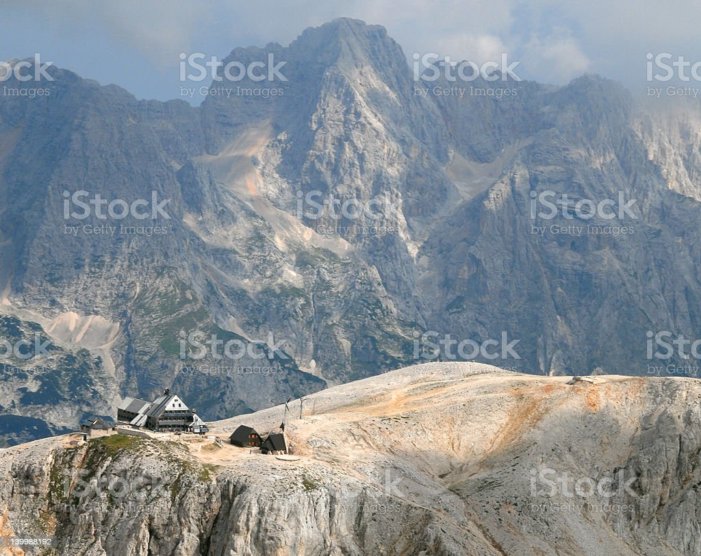 Photo from air perspective, Mountain hut Kredarica royalty-free stock photo