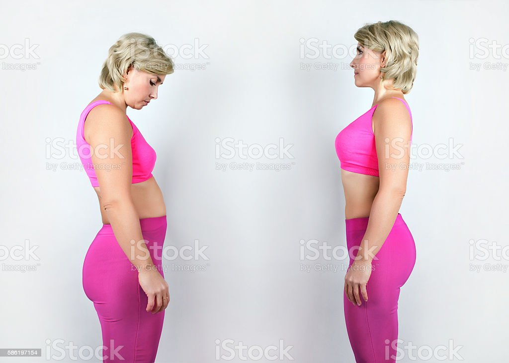 Photo full and thin girl in a pink suit stock photo