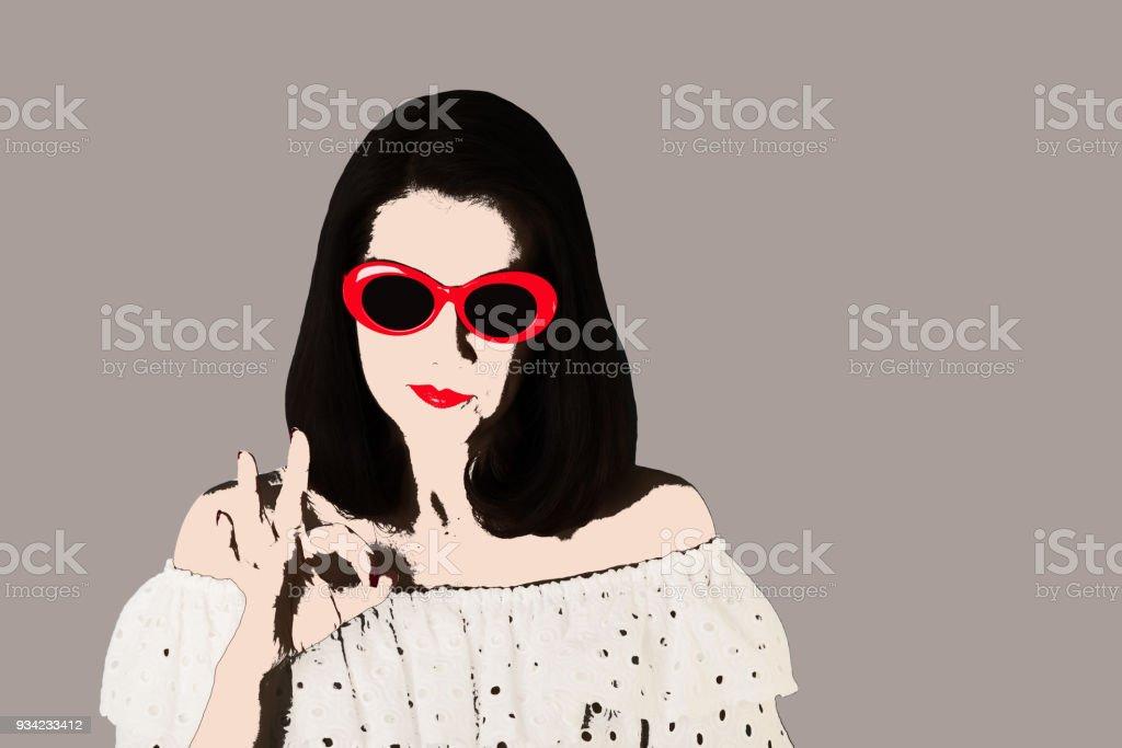 9dfc19bfb Foto no estilo da pop art. Mulher de vestido branco e óculos de sol mostra