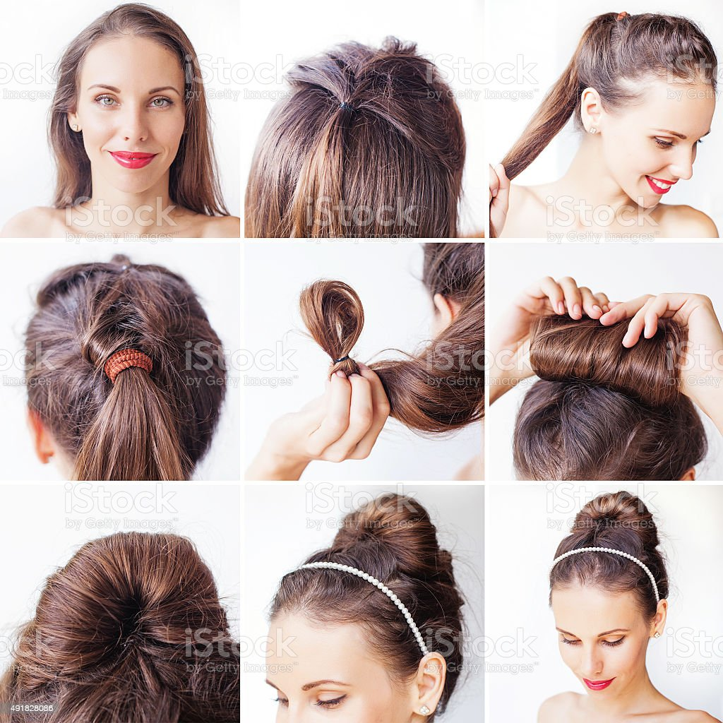 Photo instruction for making a updo with long hair stock photo