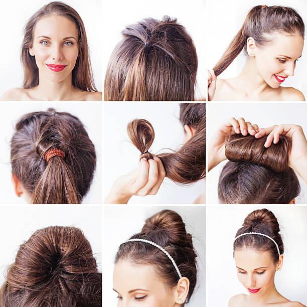 foto-unterricht für eine hochsteckfrisur mit langen haar - brautstyling stock-fotos und bilder