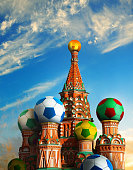 Photo manipulated image of the Kremlin with footballs as domes.