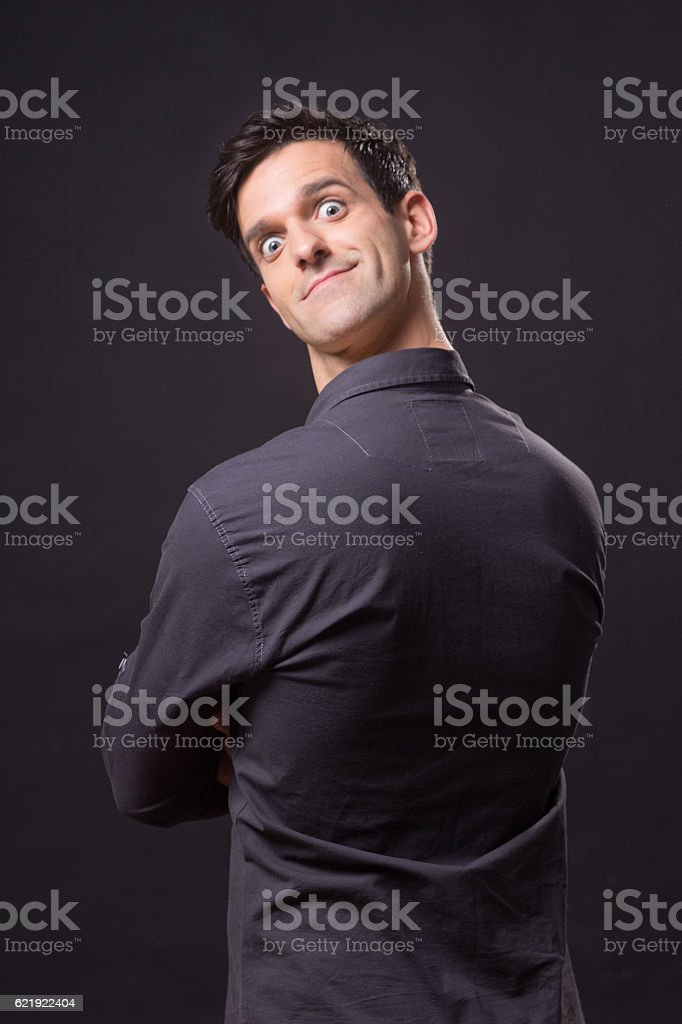 photo manipulation, head face backwards stock photo