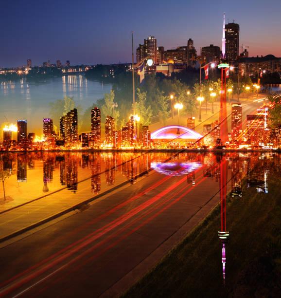 Photo Montage of Beautiful Toronto City at Night stock photo