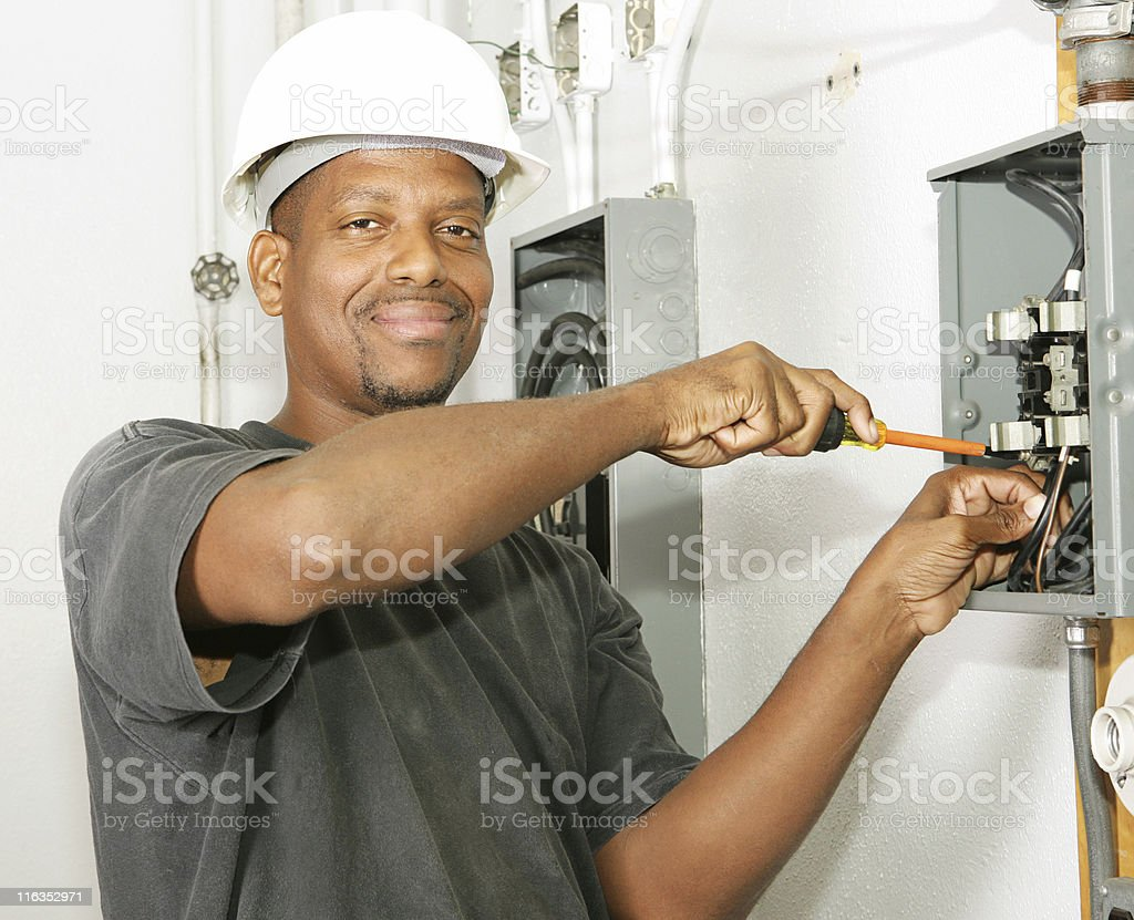 Photo of a African American electrician stock photo