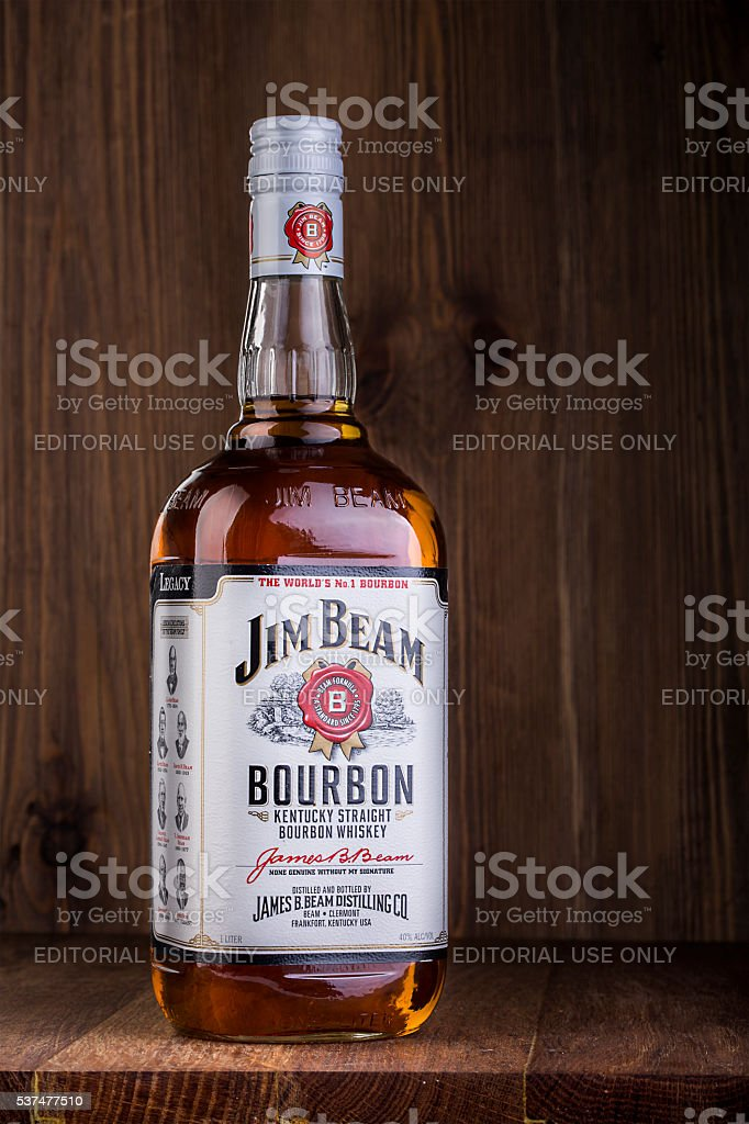 Photo of a bottle of Jim Beam Bourbon stock photo