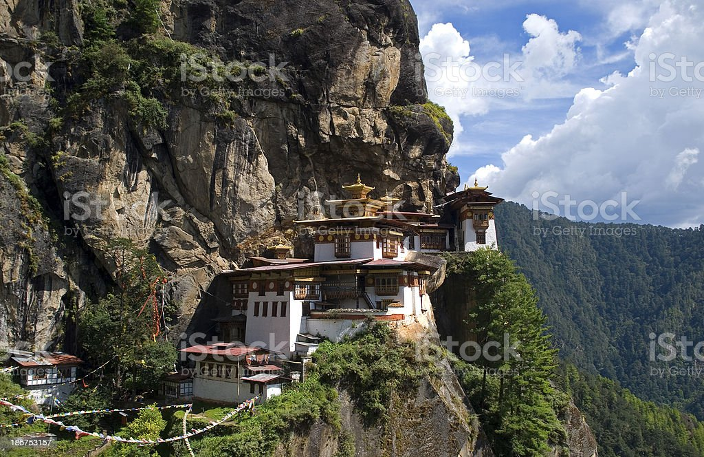 Photo of a building in Taktshang Goemba, Bhutan stock photo