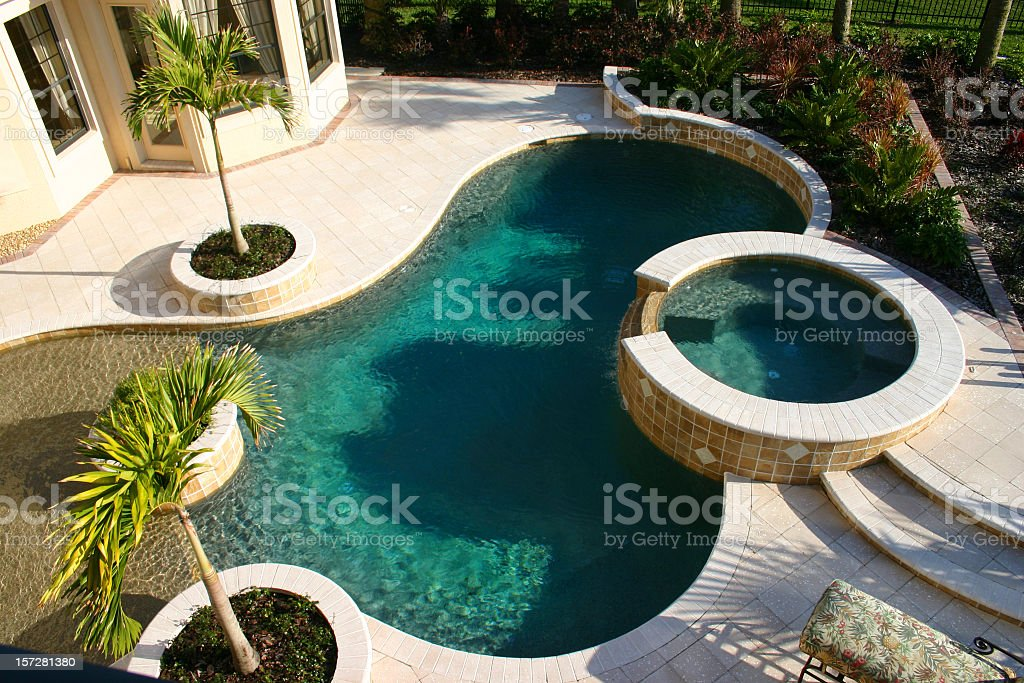 Photo of a circular pool from above royalty-free stock photo