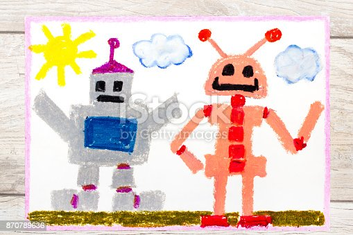 istock Photo of a colorfful drawing: Two different robots 870789636