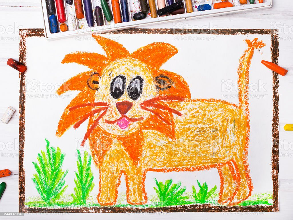 photo of a colorful drawing: lion with a big mane stock photo